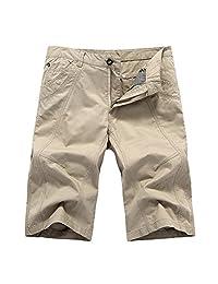 CRAZY Men's Perfect Cotton Shorts Classic Fit Flat Front Pants-beige-label44