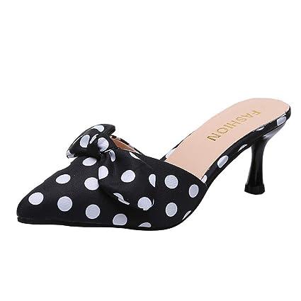 30e1dd56fb3 Amazon.com: JJLIKER Women's Polka Dot High Heel Sandals Slippers ...