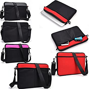 Protective Messenger bag with front pockets in Apple Red and Black - Universal design fits Microsoft Surface Pro 2