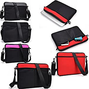 Red/Black protective neoprene sleeve/carrying messenger bag- Universal fit for - Universal design fits HP MINI 210-1031SS