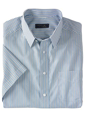 KS Signature Men's Big & Tall Signature Fit Broadcloth Short-Sleeve Dress Shirt,