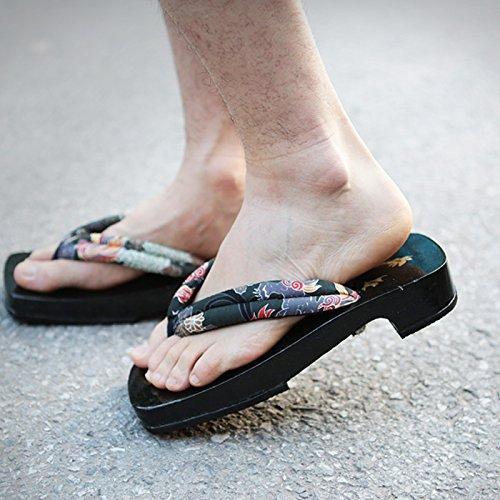 Xing Lin Sandalias De Cuero Sandalias De Verano Para Hombres Hombres Arca De Madera Laqueada Negra屐Zapatillas, Masculino, 40, L, La Kirin