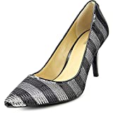 Michael Kors Flex Black Silver Stripe Sequin Pump Women Size 9.5 M