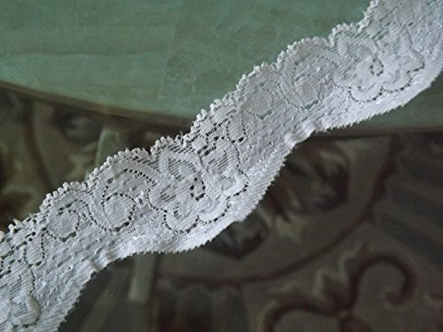 [20 Yards Embroidered White Stretch Floral Lace 1 1/2