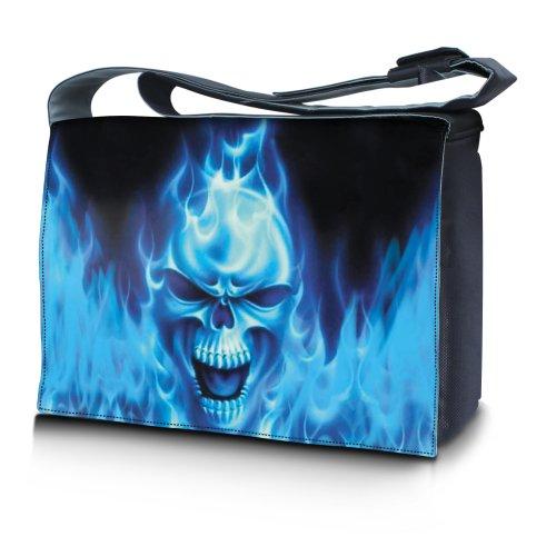 Luxburg® Design bolso bandolera de mensajero, de escuela bolso para portátil ordenadores Laptop Notebook 15,6 pulgadas, motivo: Hombres multicolores Calavera sobre fondo azul
