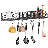 MyGift 30-Inch Wall-Mounted Metal Cutout HOME and Scrollwork Design Utility Shelf with 8 S-Hooks Review