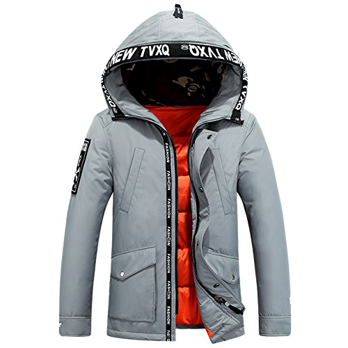 Lsm Di Giacca cappotto Imbottita Spessore Caldo Uomini Grigio Inverno Outwear Incappucciato Casuale Degli q060S1E