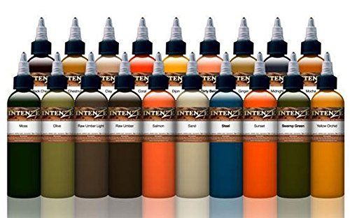 High Quality Portraits (Mike DeMasi Tattoo Ink Supplies 19 Color Portrait Kit Professional Quality, 1 Oounce Bottles, Set of 19)