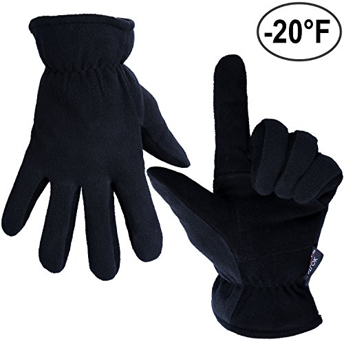 Thermal Gloves, OZERO -20ºF Cold Proof Winter Glove - Genuine Deerskin Suede Leather Palm and Polar Fleece Back with Heatlok Insulated Cotton Layer - Keep Warm in Extreme Cold Weather - Denim (XL)