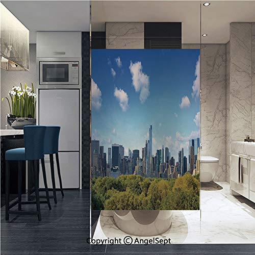 Decorative Window Films Kitchen Glass Sticker Manhattan Skyline with Central Park in New York City Midtown High Rise Buildings Waterproof Anti-UV for Home and Office 22.8
