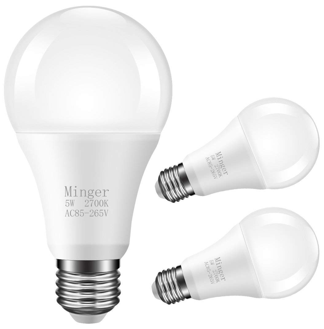 Minger LED Dusk-to-Dawn Light Bulb 5W Smart Sensor Bulbs, 40W Equiv. Automatic Indoor/Outdoor Lighting Lamp for Porch, Hallway, Patio, Garage (E26/E27, 450lumen, Warm White) [3-Pack]