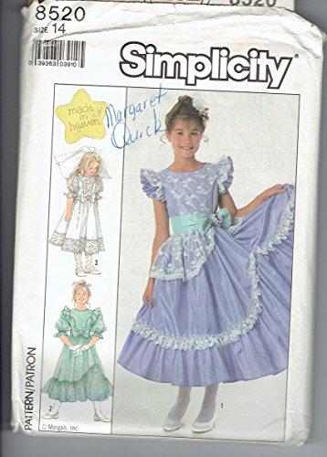 Simplicity 8520 Sewing Pattern Girls Full Skirt Dress Size 14 (Skirt Heaven Vintage)