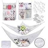Toy Hammock Organizer [2 PACK] - Plus! Bath Tub Toy Organizers [2 COUNT] - Bonus! Shower Hooks [1 Dozen] Double the organization of your kid's toys both in the bathtub and the play room!