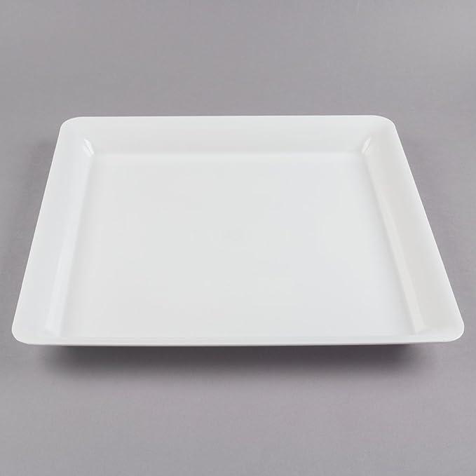 Pack de 3 bandejas cuadradas de plástico duro para servir platos/bandeja de plástico para alimentos - blanco - 25 x 25 cm: Amazon.es: Hogar