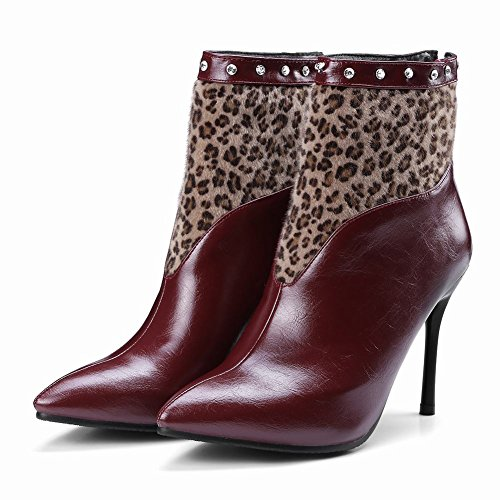 Carolbar Kvinners Rhinestones Pekte Tå Sexy Leopard Stiletthæler Høst Støvler Vinrød