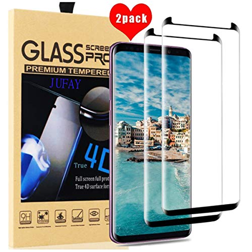 Galaxy S8 Screen Protector,2-Pack Galaxy S8 Tempered Glass Screen Protector,JUFAY 9H Hardness[Anti-Scratch][Anti-Fingerprint][Bubble Free] Screen Protector for Samsung Galaxy S8-Black