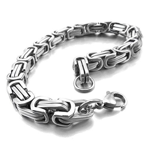 INBLUE Men's 8mm Stainless Steel Bracelet Wrist Link Silver Tone Byzantine 8 Inch