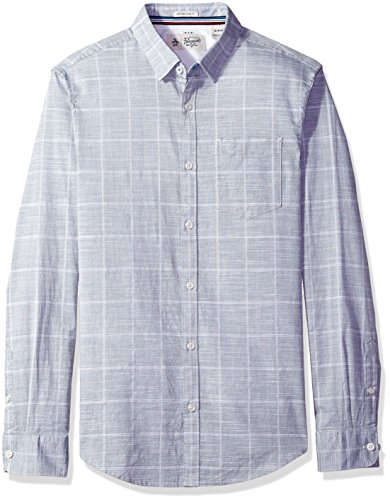 Original Penguin Men's Long Sleeve Slub End Windowpane, Dark Sapphire, (Penguin Window)