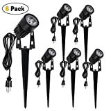 package lights - Annstory 6W Oudoor Flood Light by, Bright LED Black Landscape Stake Light with Cord Set, Landscape Spotlight for Garden Yard Patio Path lawn,Waterproof,Warm White(6 Pack)