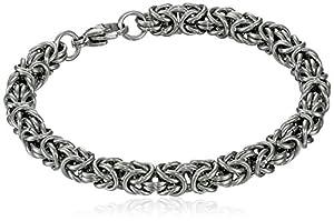 "Men's Stainless Steel Byzantine Chain Bracelet, 8"""