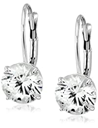 10k White Gold Leverback Earrings Made with Round-Cut Swarovski Zirconia (3 cttw)
