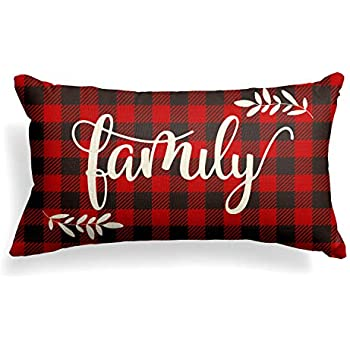 AVOIN Christmas Family Pillow Cover Buffalo Plaid, 12 x 20 Inch Winter Holiday Linen Cushion Case Decoration for Sofa Couch
