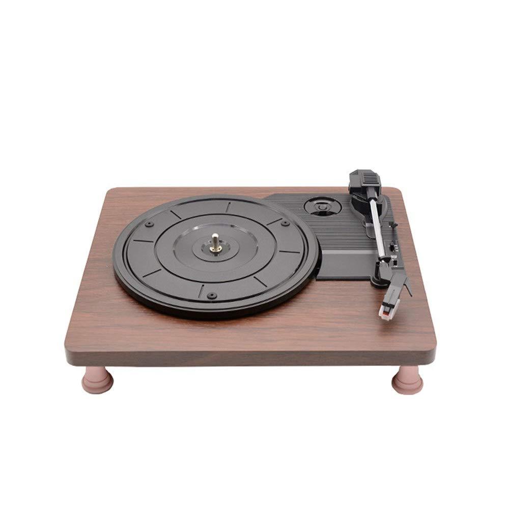 ポータブルターンテーブルフラット木製ケースレコードマシンヴィンテージビニール多機能蓄音機レコードプレーヤーbluetoothスピーカースーツケースターンテーブル付きbluetoothホームデコレーション父の日ギフト ステレオスピーカー (色 : Wood, サイズ : Free size) B07SM6PCVK Wood Free size