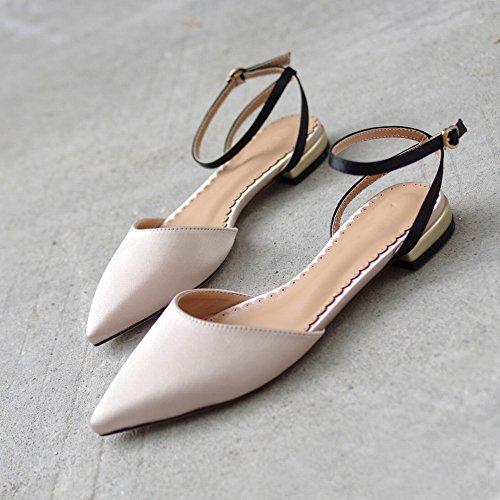 de Rouge Net Abricot Fée Chaussures Sauvage Noir DIDIDD Pointu Baotou 38 Rétro qTCxwHCX4n