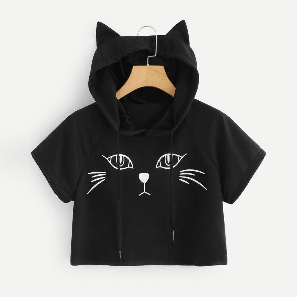 7d3c167b Amazon.com: Tanhangguan Womens Tops Cute Cat Print Hoodies Casual Short  Sleeve Pullover Crop Top Hoodie Summer T Shirt Blouse (Black, S): Clothing