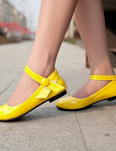 zapatos pink charol talón mujer us6 de Flats rosa uk4 PDX 5 blanco 5 Casual de plano amarillo punta redonda eu37 7 cn37 5 rojo 5WxfAqp