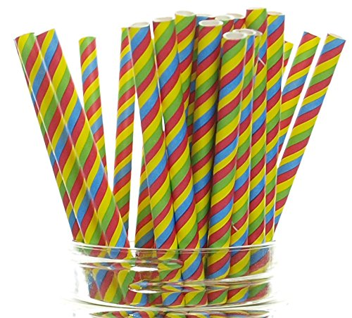 [Circus Party Straws, Stripe (25 Pack) - 60's Psychedelic Hippie Tye Dye Pattern Paper Straws, 70's Disco Party Supplies, Carnival Print Drinking] (70s Disco Fever)