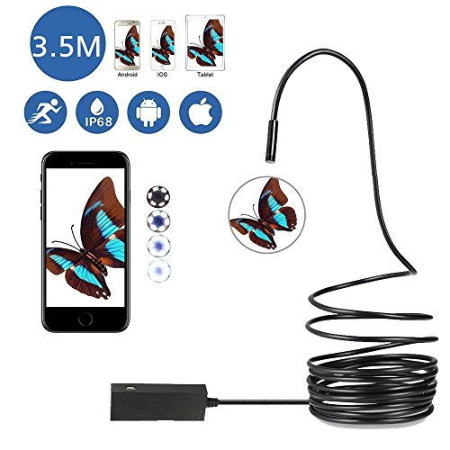 Pawaca Updated USB Endoscope for OTG Android IOS Iphone, Waterproof Borescope Inspection Camera 2.0 M HD Snake Camera 5mm With 6 Led