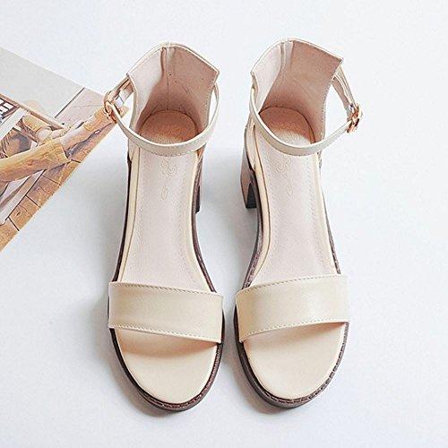 RAZAMAZA Mujer Moda Correa de Tobillo Tacon Medio Sandalias Simple Tacon Ancho Zapatos Beige