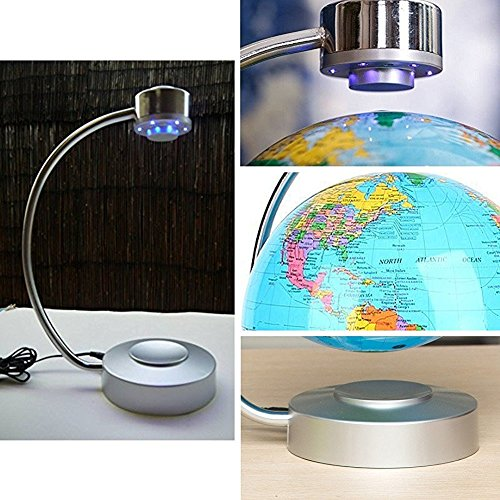 Globes World, 8'' Magnetic Floating Globe With LED Light - Anti-gravity Levitation Rotating Planet Earth Globe Stylish Home Office Desktop Display Decoration (Blue) by Yosoo (Image #6)