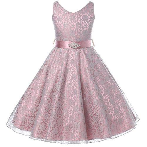 Little Girls Fabulous Full Lace V-Neck Dress Rhinestone Dusty Rose - Size 6 (Occasion Dress Special)