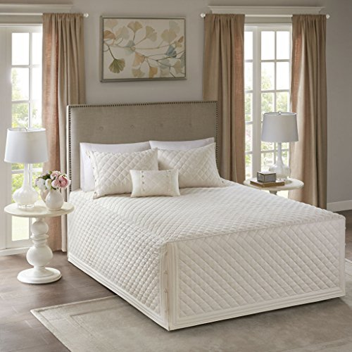 Breanna 4 Piece Tailored Bedspread Set Ivory King/Cal King by Madison Park