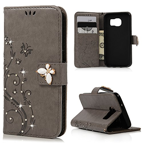 - S7 Case,Samsung Galaxy S7 Case - Mavis's Diary 3D Handmade Wallet Bling Crystal Diamonds Butterfly Fashion Floral PU Leather with Wrist String Magnetic Clip Card Slots TPU Inner Cover