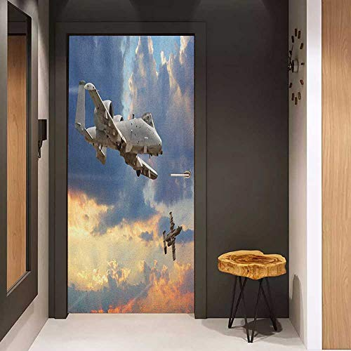 Onefzc Glass Door Sticker Decals Airplane Peacekeepers Mission Jet Up International Military Force Combat Flight Picture Door Mural Free Sticker W32 x H80 Blue Silver