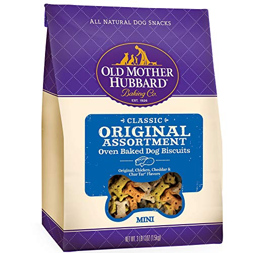 Old Mother Hubbard Classic Crunchy Natural Dog Treats, Original Assortment Mini Biscuits, 3.8 (3 Lb 13Oz)-Pound - Biscuits Dog Natural