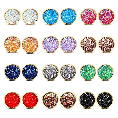 FENBORY 12 Pack Stainless Steel Druzy Stud Earrings Set Colors Round Earrings Gold for Women - Gray Gemstone Earrings