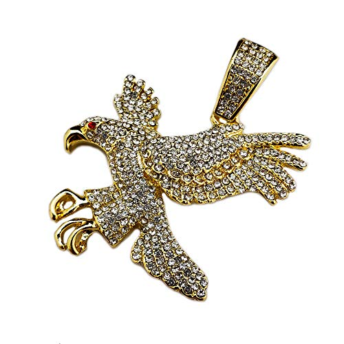 Gold Plated Eagle - BLINGFACTORY Hip HOP ICED Out LAB Diamond Gold Plated Soaring Eagle Pendant