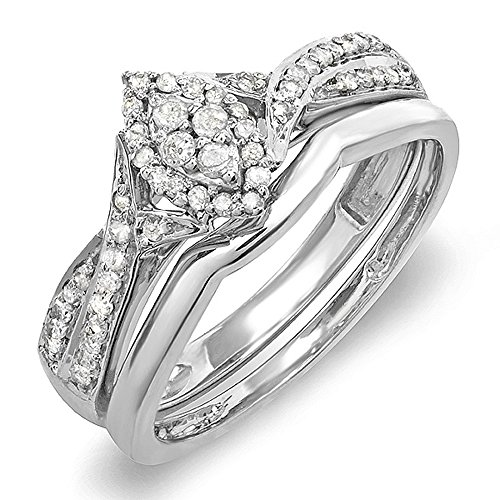 (Dazzlingrock Collection 0.30 Carat (ctw) 10k Round Diamond Ladies Bridal Split Shank Marquise Shaped Ring Engagement Matching Band Wedding Set 1/3 CT, White Gold, Size 7)