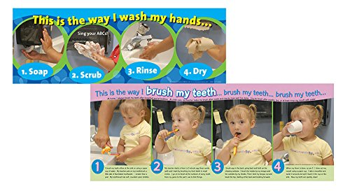 Becker's School Supplies Handwashing & Teeth Brushing Poster Set, (Set of 2)
