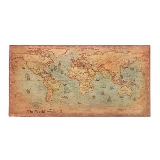 No Frame Decoración del hogar Mapa del Mundo Retro Antiguo ...