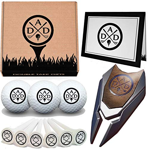 Double Take Gifts 12 Piece Golf Gift Set: 3 in 1 Engraved Divot Repair Tool, Custom Balls, Ball Marker, Logo tees and Greeting Card Included! ()