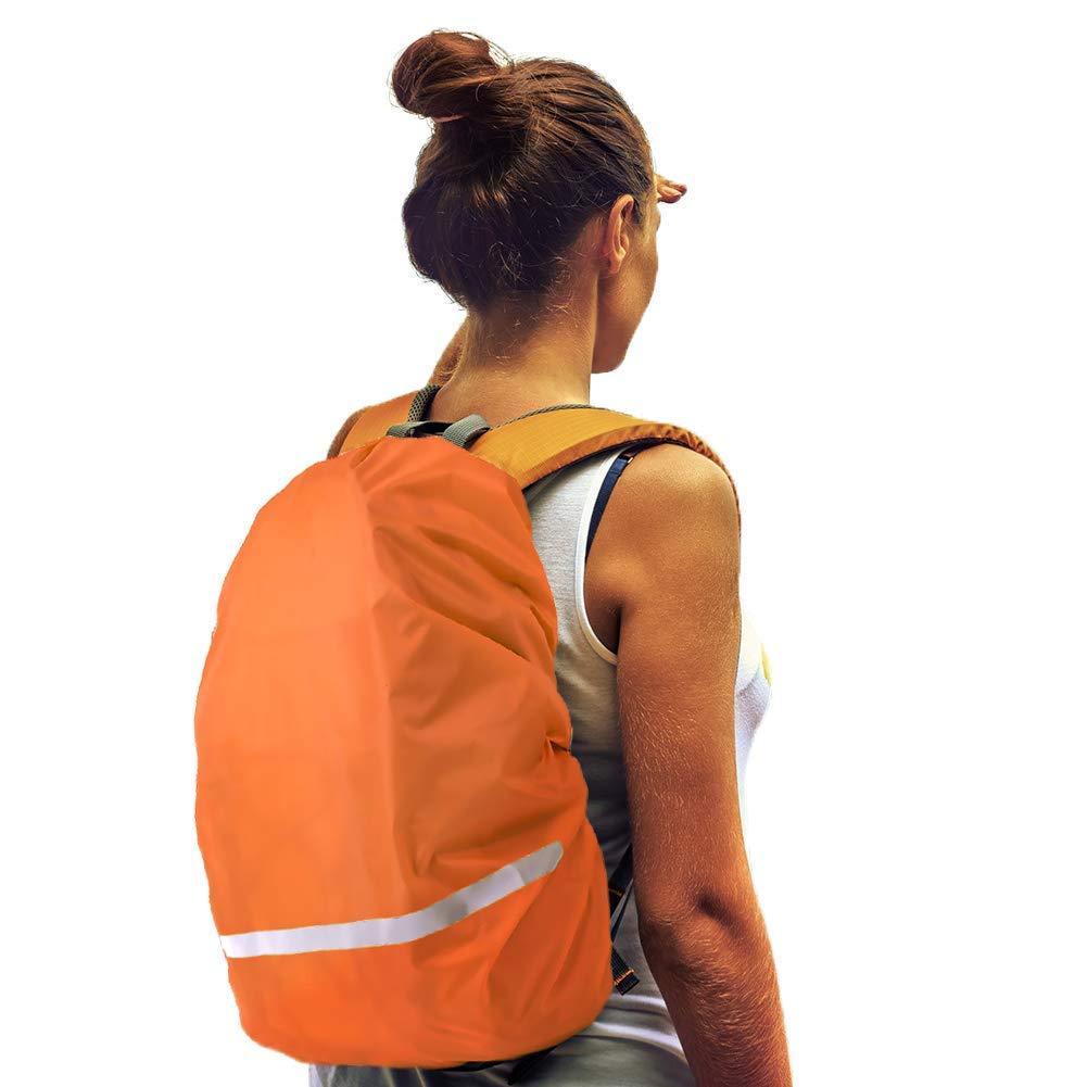 防水バックパック レインカバー 防水収納バッグ 防雨保護パックカバー 反射ストリップ付き ハイキング キャンプ サイクリング 旅行 アウトドア活動用 Small オレンジ B07H5J56HQ