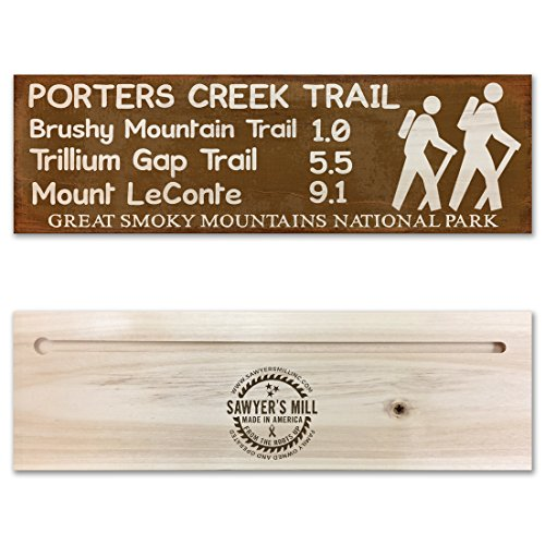 (Porters Creek Trail, Brushy Mountain Trail, Trillium Gap Trail, Mount LeConte - Great Smoky Mountains National Park - Handmade Wood Block Trail Marker Sign for Hikers)