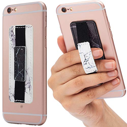 Cardly (Two) Finger Grip Strap Cell Phone Stick for Phone and iPhone, Android and All Smartphones. (Marble)