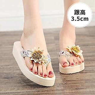 Shukun Chancletas del dedo del pie Zapatillas de Mujer al Aire Libre Verano Chanclas Junto al mar Sandalias Antideslizantes Vacaciones Zapatos de Playa
