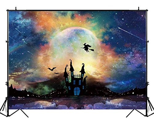 (Funnytree 7X5ft Halloween Moonlight Backdrop Colorful Haunted Castle Photography Background Full Moon Party Decorations Kids Portrait Photobooth Photo Studio)